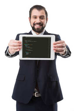 businessman with html code on tablet