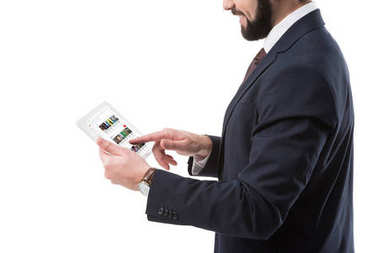 Businessman with tablet with youtube website