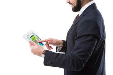 businessman with tablet with website