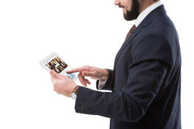 Businessman with tablet with depositphotos website