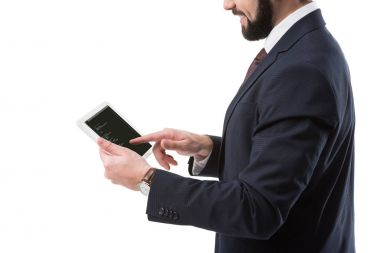 Businessman with tablet with html code