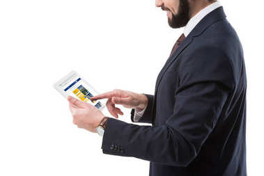 Businessman with tablet with rent website