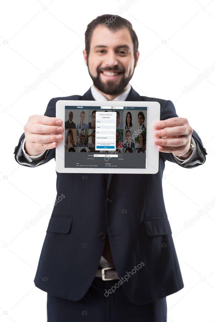 Tablet with linkedin website