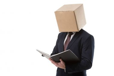 businessman with folder and box on head