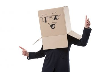 successful businessman with box on head