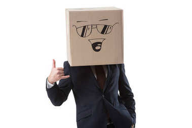 businessman with box with smile sign on head