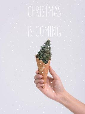 ice cream cone with christmas tree