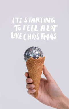 ice cream cone with christmas ball