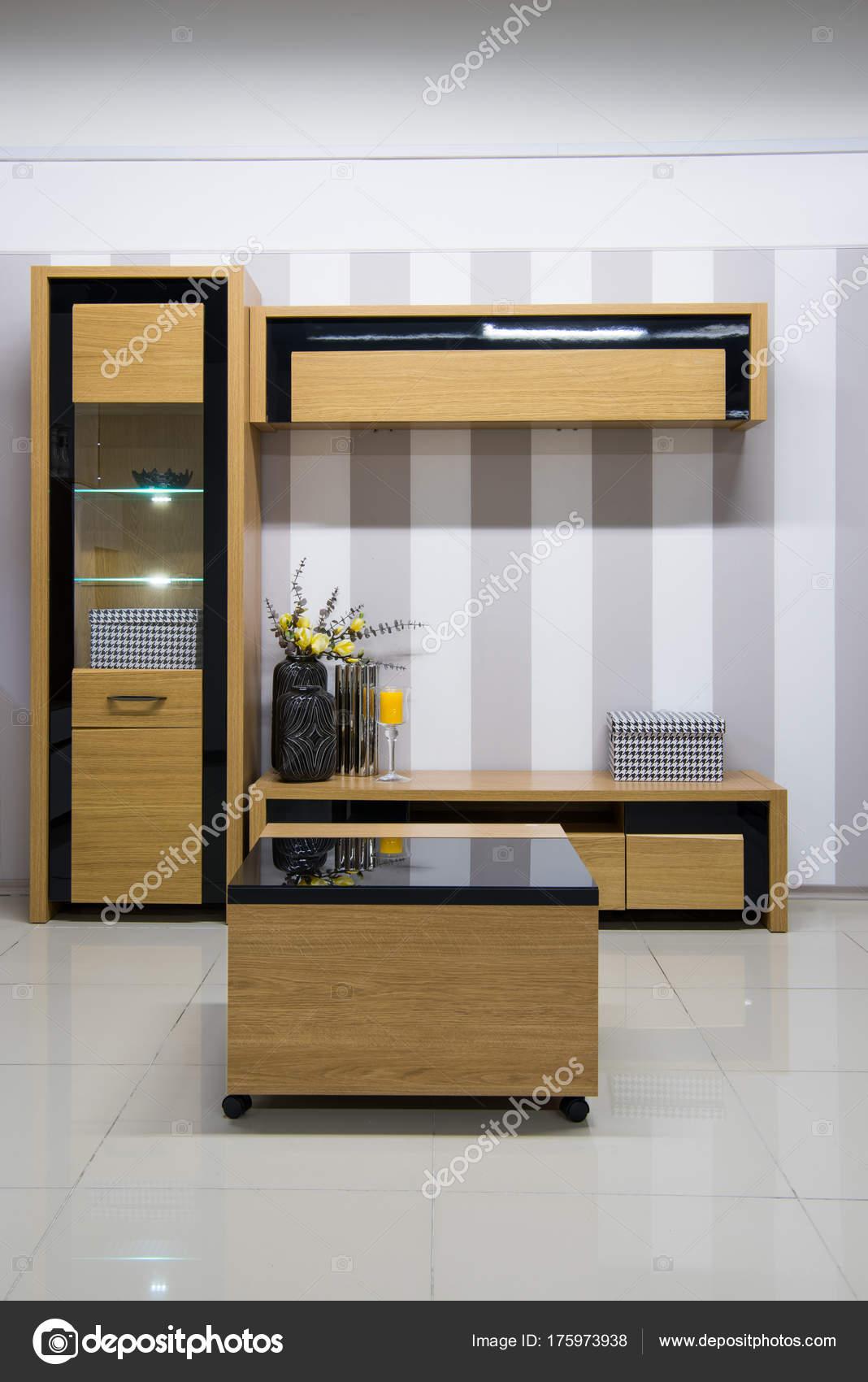 Moderne Wohnzimmer Interieur Mit Schrank Und Regale — Stockfoto ...