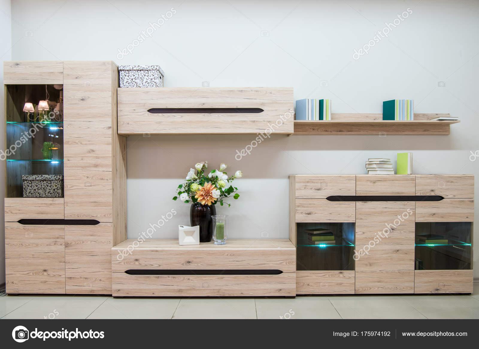 Moderne Woonkamer Interieur Met Kast Opbergruimte — Stockfoto ...