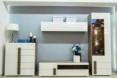 Fotografie moderní obývací pokoj interiér skříně a police