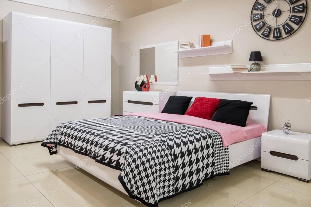 cozy modern bedroom interior with bed