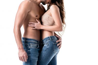 Cropped image of acctractive sensual couple in jeans isolated on white stock vector
