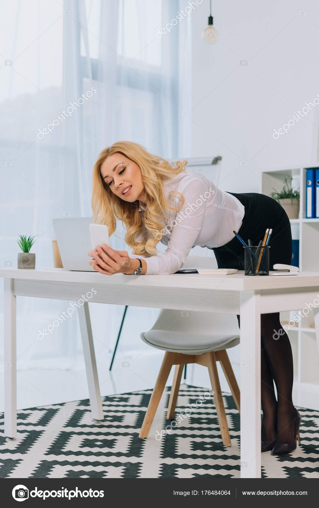 Attractive Sexy Businesswoman Leaning Table Taking Selfie Smartphone Stock Photo Image By C Vitalikradko 176484064