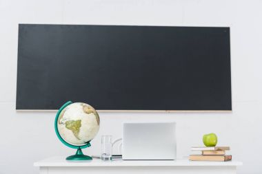 teachers desk with laptop in classroom in front of chalkboard
