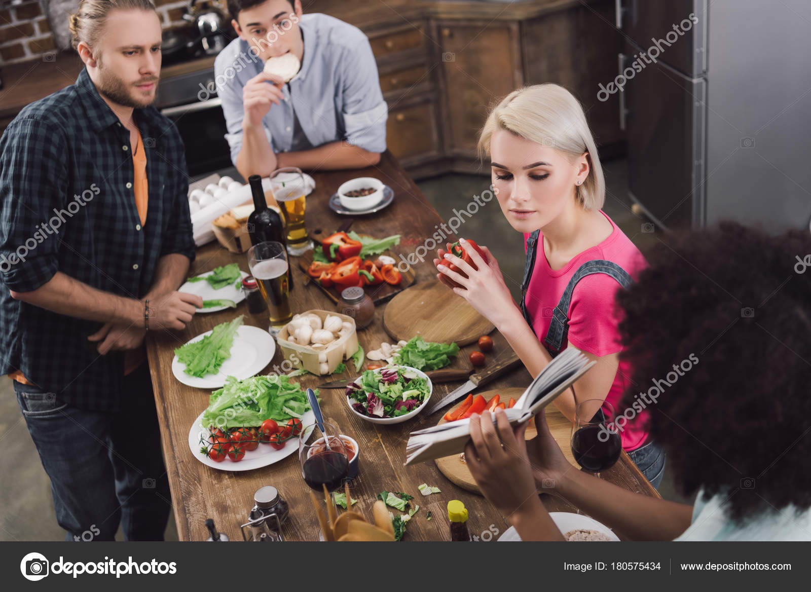 African american girl showing friends recipe book stock photo african american girl showing friends recipe book photo by vitalikradko forumfinder Choice Image
