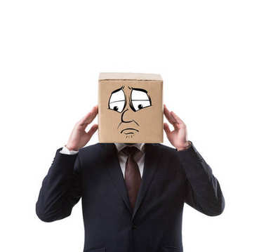 Businessman with cardboard box on head having headache isolated on white stock vector