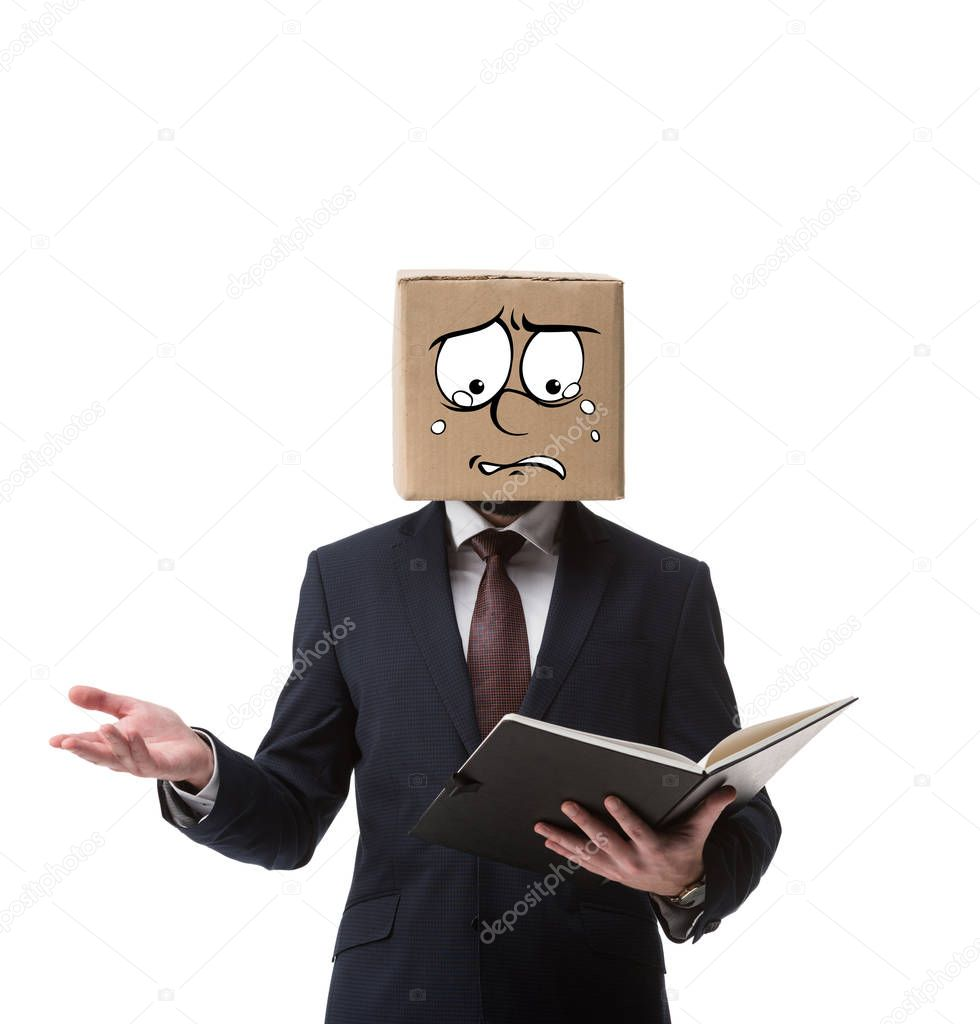 stressed businessman with cardboard box on head holding documents in folder isolated on white