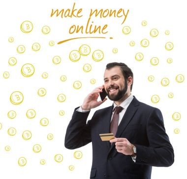 businessman with credit card talking on smartphone, bitcoin symbols and inscription make money online isolated on white