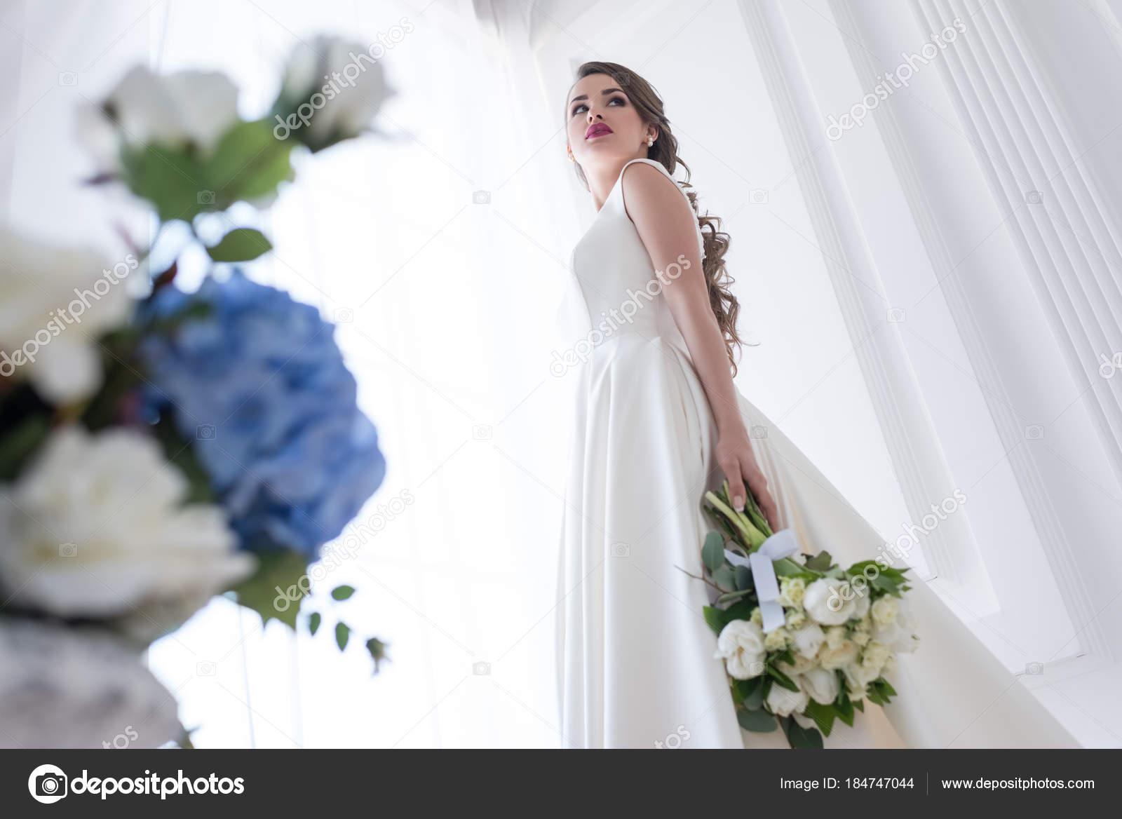 Bottom View Bride Posing White Dress Wedding Bouquet Stock Photo