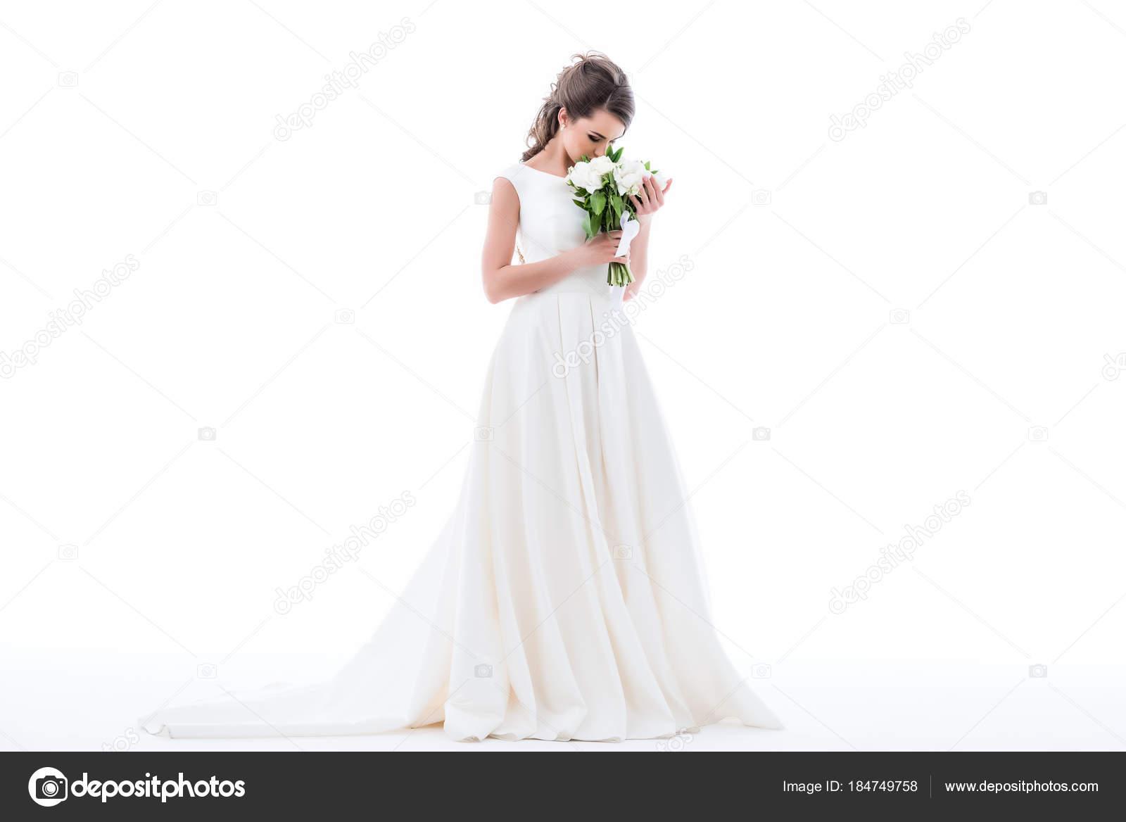 Elegante Braut Posiert Traditioneller Tracht Und Schnuffeln