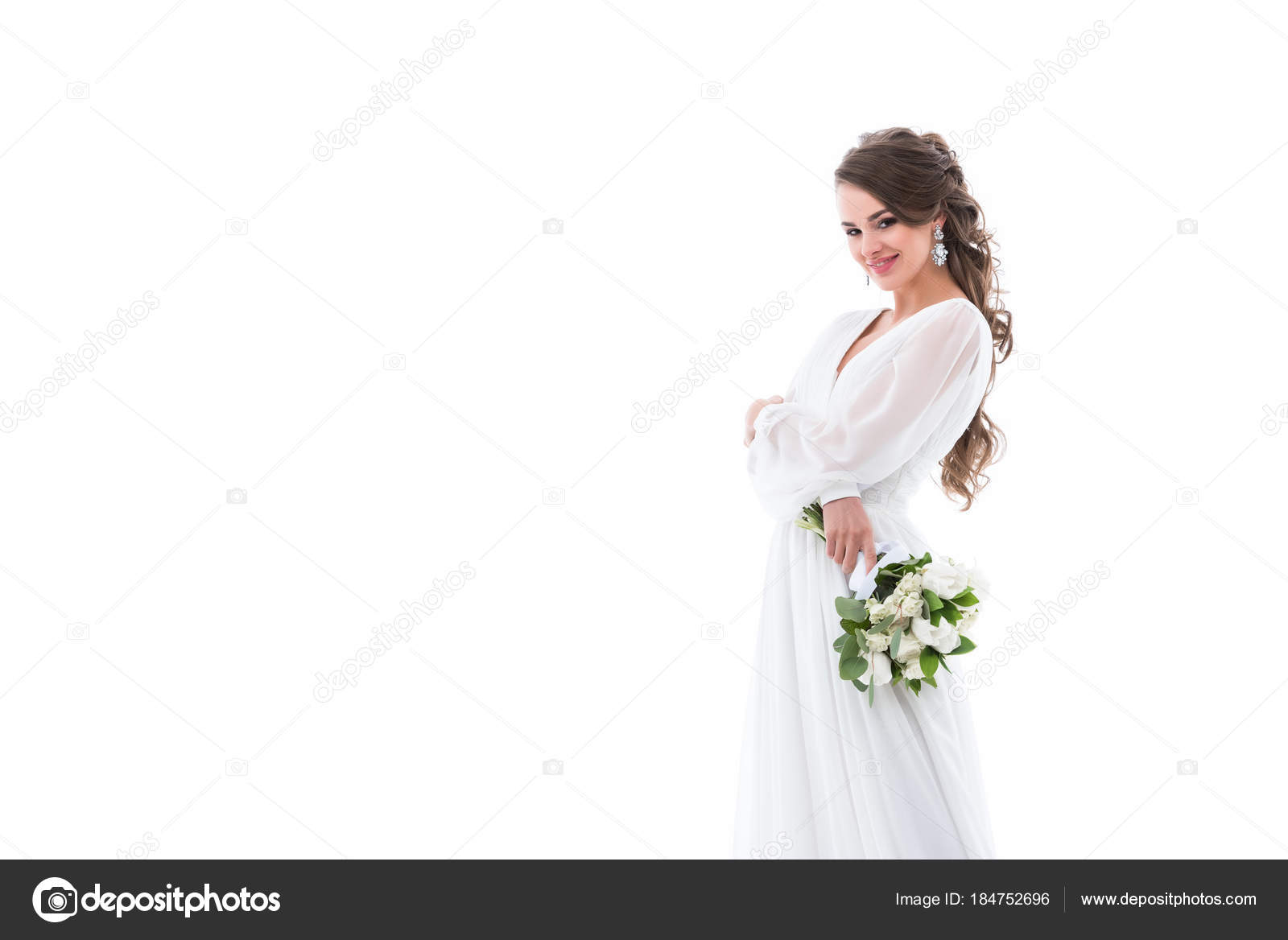 Lacheln Braut Posiert Weissen Tracht Mit Brautstrauss Isoliert Auf