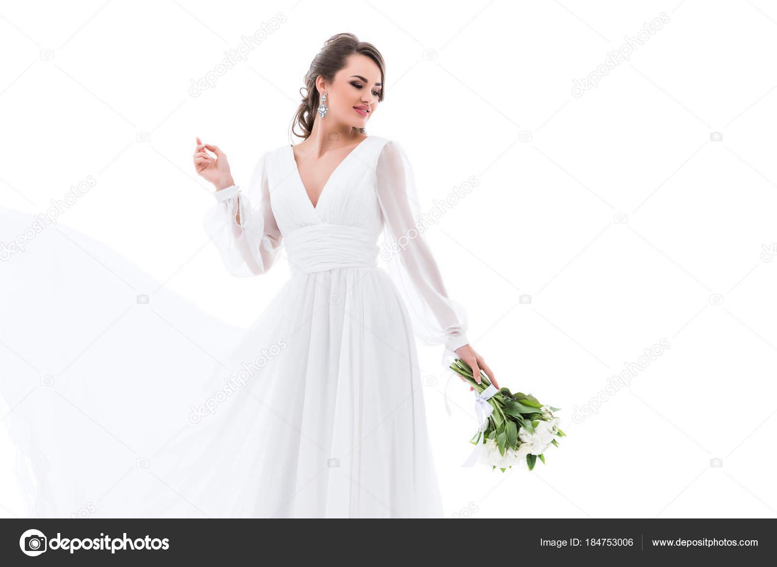 Gluckliche Braut Posiert Traditioneller Tracht Mit Brautstrauss