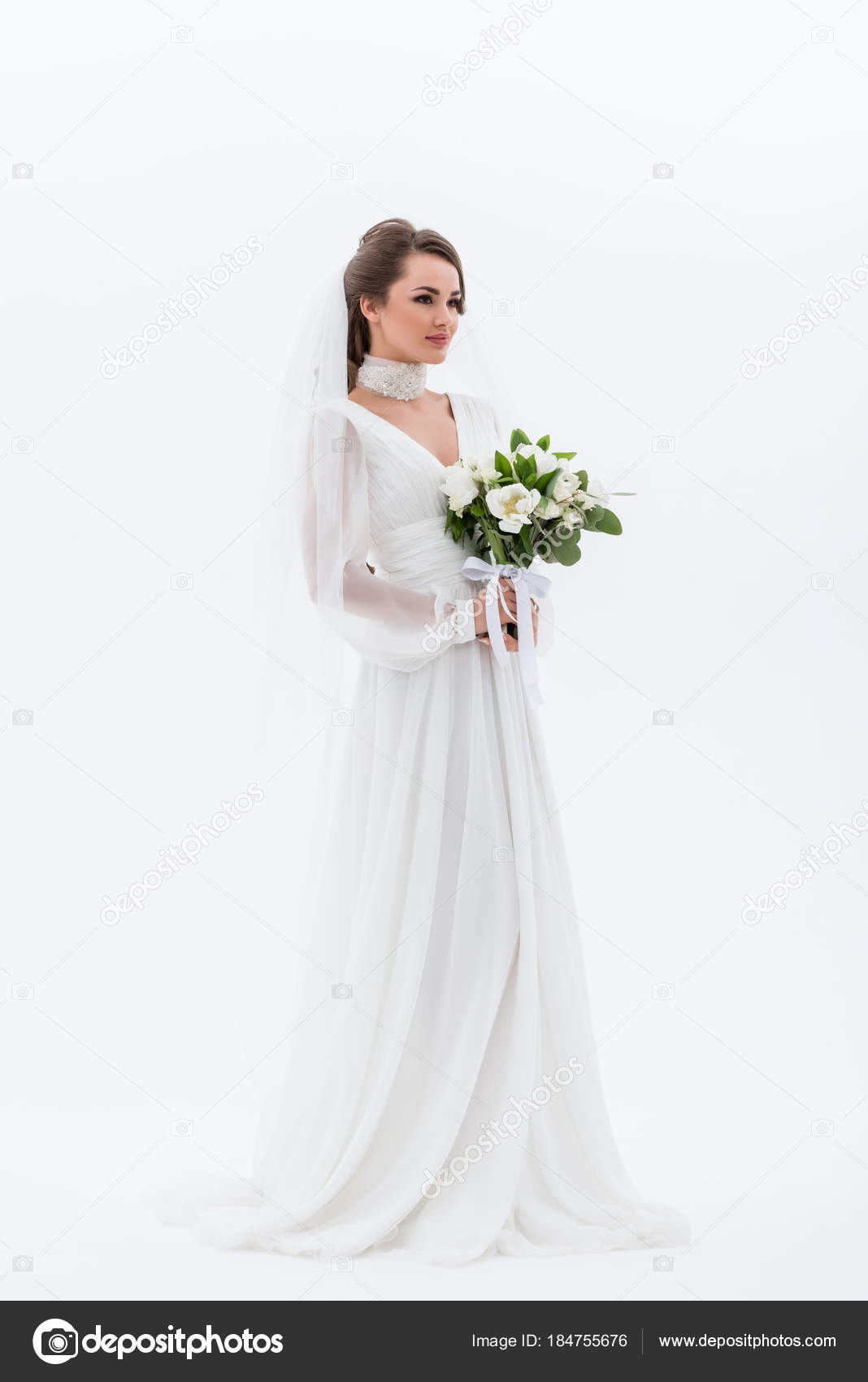 Attraktive Junge Braut Traditioneller Tracht Mit Brautstrauss