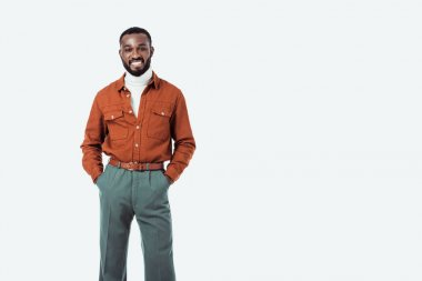 smiling african american retro styled man looking at camera isolated on white