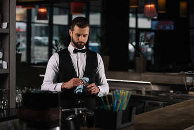 handsome bartender cleaning glass with rag in evening