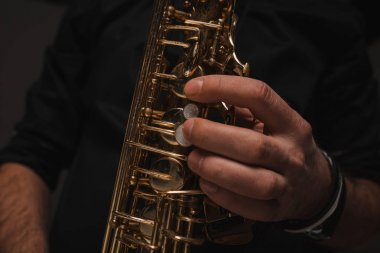 cropped shot of jazzman playing saxophone