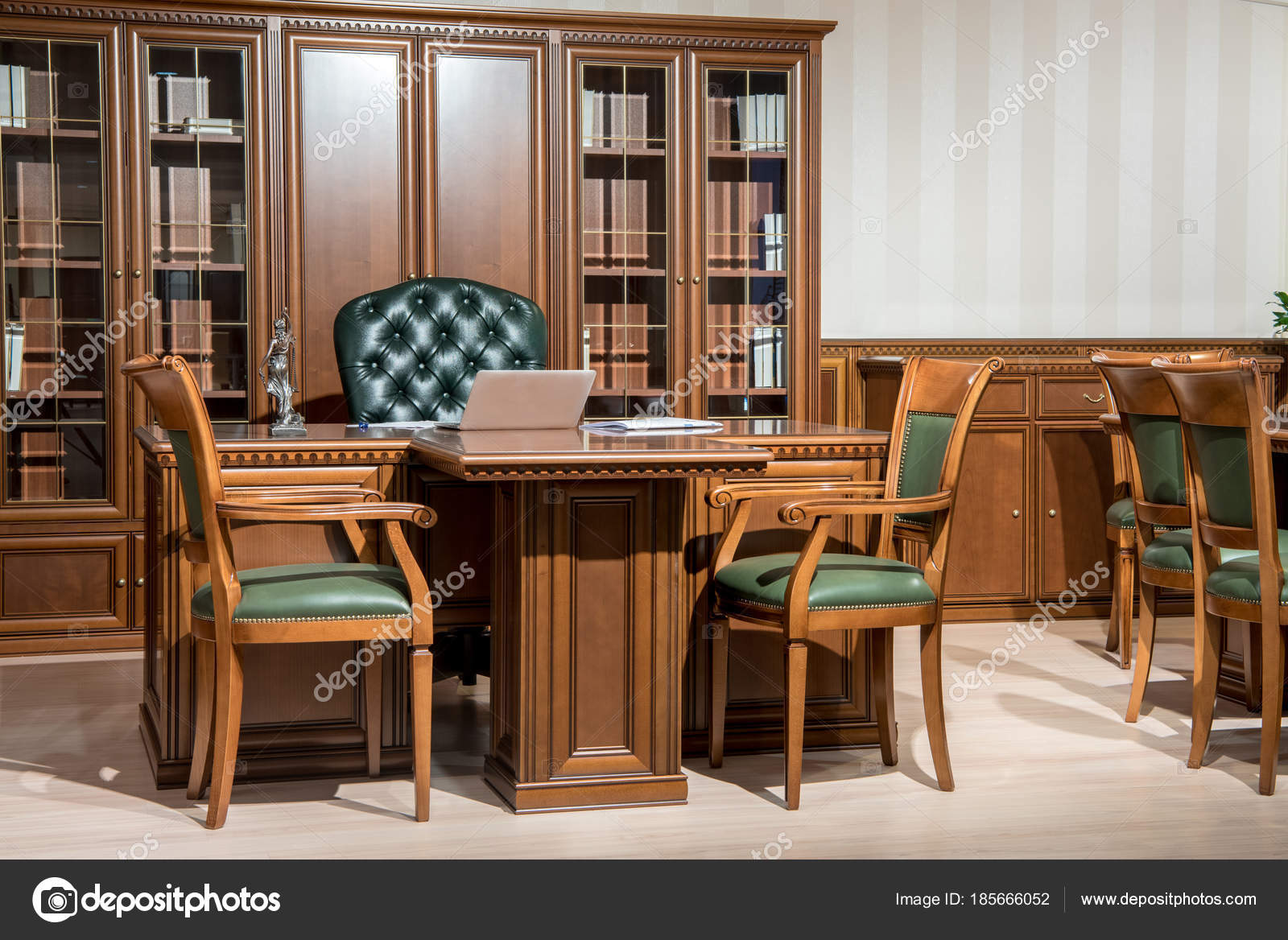 Interior Office Room Chairs Laptop Wooden Table Classic Design Stock Photo C Vitalikradko 185666052