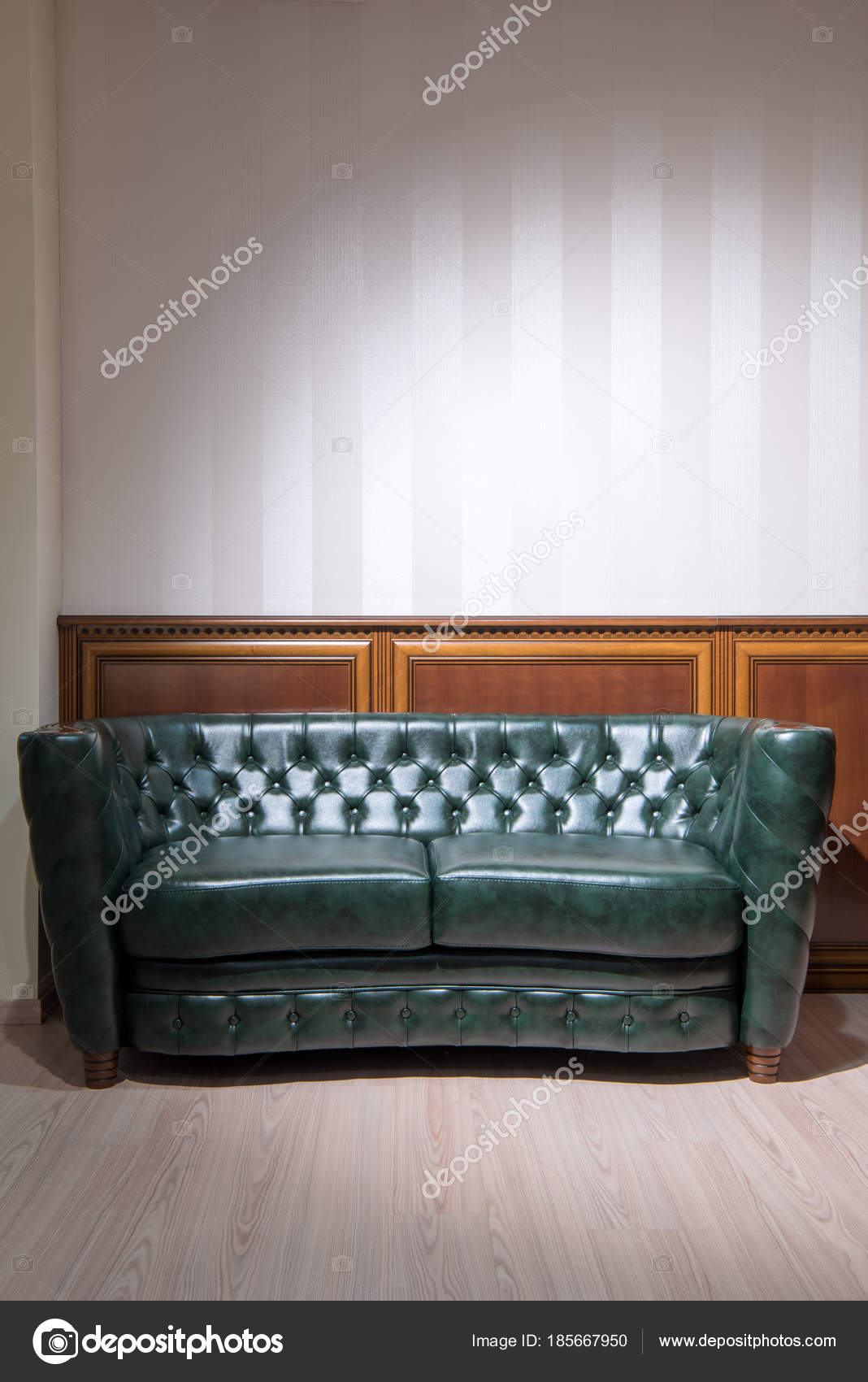 Enjoyable Green Leather Couch Front Wall Wooden Decoration Stock Bralicious Painted Fabric Chair Ideas Braliciousco