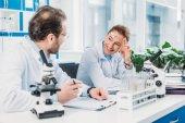 vědců v bílých pláštích spolupracují na pracovišti v laboratoři