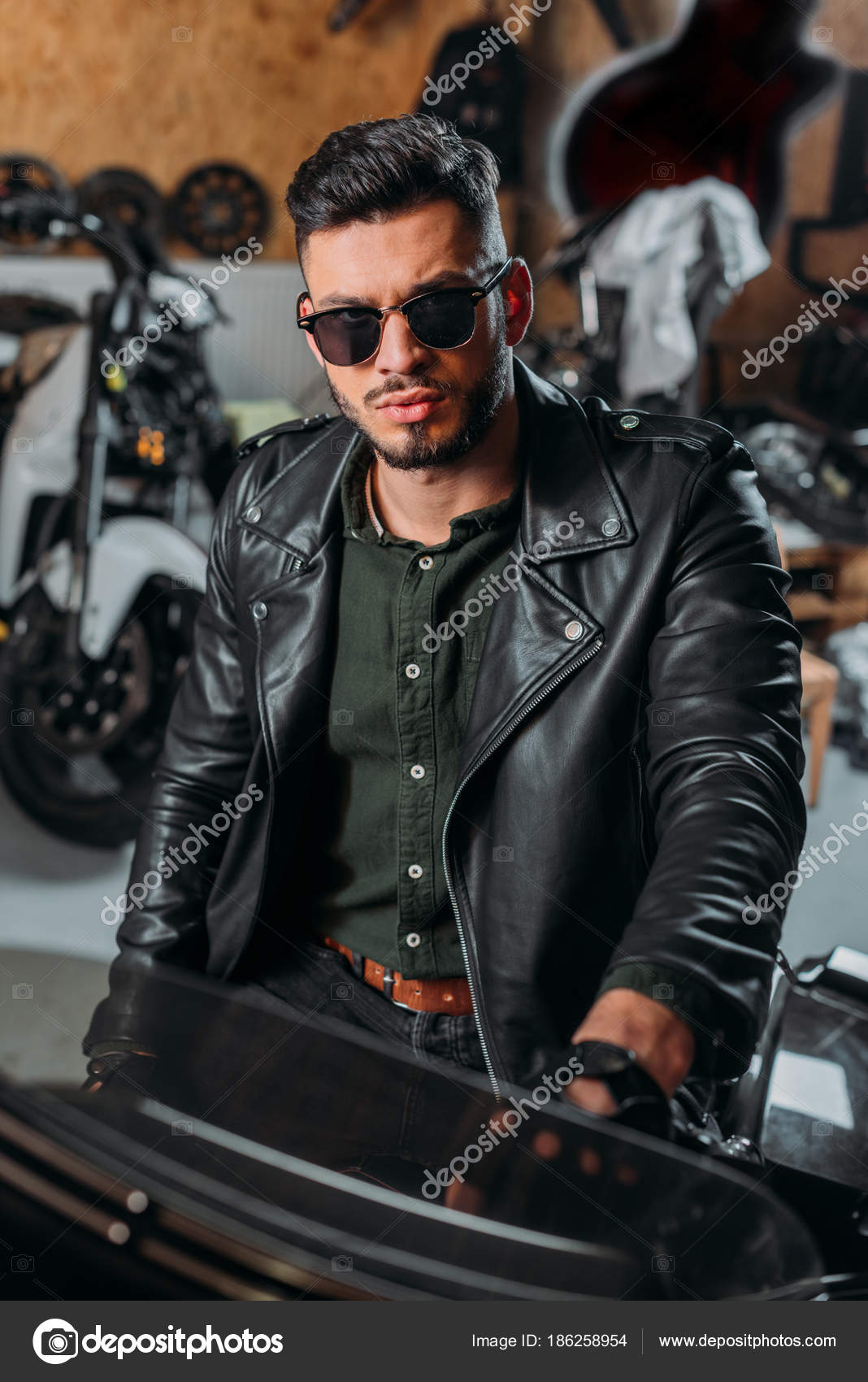 Size Of 2 Car Garage Handsome Rockabilly Man Sitting Bike Garage Stock Photo