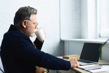 bearded senior man in eyeglasses drinking from cup and using laptop with blank screen