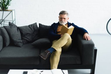 stylish bearded man in eyeglasses holding book and looking at camera while sitting on sofa at home