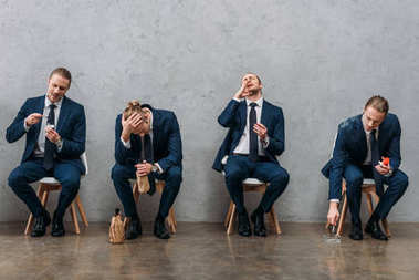 collage of cloned businessman sitting on chairs and showing different addictions