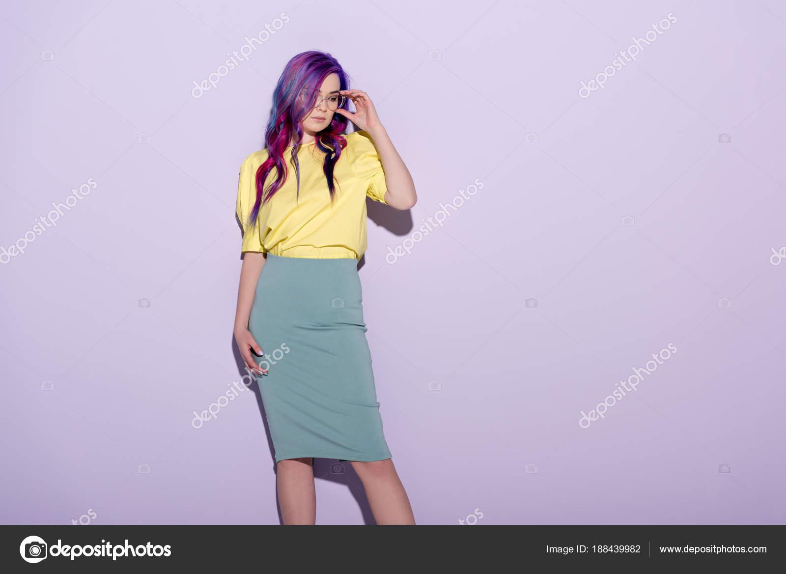 Beautiful Young Woman Colorful Hair Stylish Eyeglasses Pink Stock