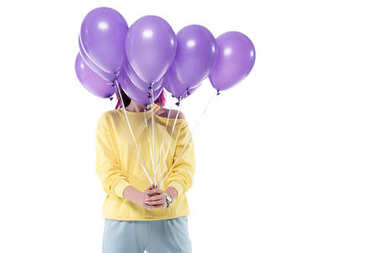 Woman covering face with bunch of helium balloons isolated on white stock vector