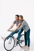 Fotografie přítelkyně výuky přítel jezdí na bílém kole