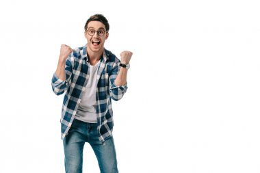 happy man showing yes sign isolated on white