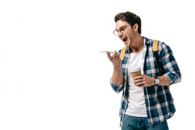 student shouting at smartphone isolated on white