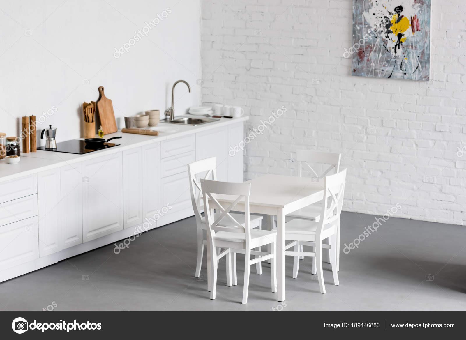 White Dining Table Modern Kitchen White Brick Walls — Stock Photo ...