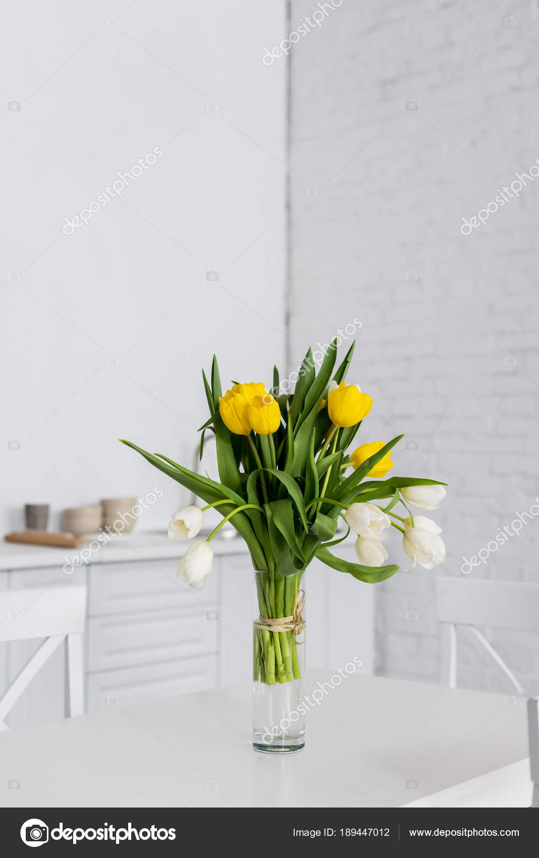 Beautiful Tulip Flowers Vase Table Modern Kitchen — Stock Photo ...