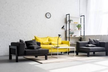 interior of stylish living room with white walls