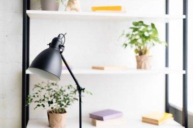 table lamp on work desk at modern aparment