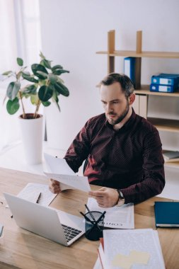 portrait of businessman doing paperwork at workplace with laptop in office