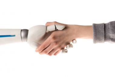 cropped image of robot and woman shaking hands isolated on white
