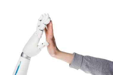 cropped shot of robot and human making high five isolated on white